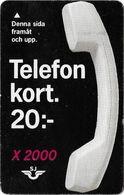 Sweden - SJ (Old Train Card) - X2000, Paper Magnetic, 20Kr, Used - Sweden