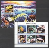 C1050 2004 GUINE-BISSAU FISH & MARINE LIFE PEIXES E FAROIS 1BL+1KB MNH - Vie Marine