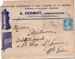 Luxeuil 1926 - Daguin Thermes Broderies Sur Enveloppe Illustrée Vermot Constructeur Poêles Et Radiateurs - Storia Postale