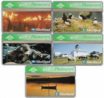 Shetland Island - Wildlife & Heritage - Complete Set Of 5, BTG-215-219, 2.000ex, All Mint - BT Edición General