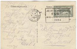 FRANCE Olympic Machine Cancel Paris Gare Saint Lazare On Postcard Of 8 VII 1924 Send To England - Summer 1924: Paris