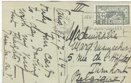 FRANCE Olympic Machine Cancel Paris XVI Place Chopin Of 17 VII 1924 To Belgium - Summer 1924: Paris