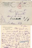 """15/1/40 """" INSPECTION GENERALE DES ARMÉES DE L'AIR """" - Lettre + Enveloppe - Aviateur Pilote GENERAL WEISS - 1939-45"""