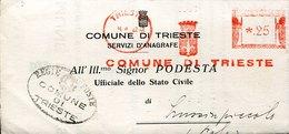 45567 ITALIA Red Meter Freistempel Ema, 1942 Trieste  Comune Di Trieste Per Lussinpiccolo ! Pola - Poststempel - Freistempel