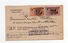 !!! PRIX FIXE : INDE, 1ERE LIAISON AERIENNE PONDICHERY - LE BOURGET GIRIER-WEISS, LETTRE RECO DE 1930 - India (1892-1954)