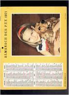 CALENDRIER 1971 ENFANTS COCKER CHIEN ALMANACH DES P.T.T. - Tamaño Grande : 1971-80