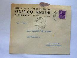 """Busta Viaggiata """"Serramenti E Mobili In Genere FEDERICO MIGLINI VALDUGGIA ( VERCELLI )"""" 1954 - 6. 1946-.. Repubblica"""