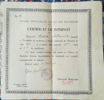 SCHOOL DIPLOMA, HOSPITAL INTERN CERTIFICATE, 1936, ROMANIA - Diploma & School Reports