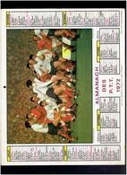CALENDRIER 1972 RUGBY FRANCE GALLES LE 23.03.1969 JUMPING CHEVAL ALMANACH DES P.T.T. - Calendriers