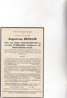 A.DEFAUW °RUISELEDE 1868 +KRUISKERKE 1950 (E.VANDEWOESTYNE- J.DOBBELAERE) - Devotion Images