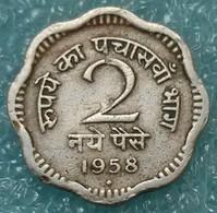 """India 2 Naye Paise, 1958 Mintmark """"♦"""" - Bombay -0637 - Inde"""