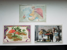 Lot 3 CP's De Bonne Année Illustrées De Champignons - Happy New Year Mushroom - Champignons