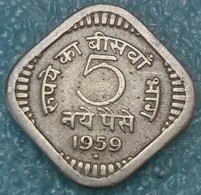 """India 5 Naye Paise, 1959 Mintmark """"♦"""" - Bombay -4063 - Inde"""