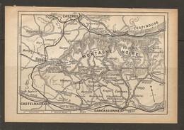 CARTE PLAN 1928 - MONTAGNE NOIRE - L'ESPINOUSSE MAZAMET CASTRES REVEL CASTELNAUDARY CARCASSONNE - Topographical Maps