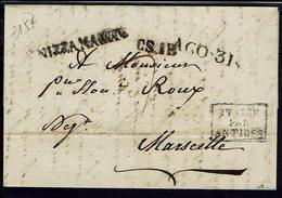 """Italie-France - 1822 """"Nizza Di Marre C.S. 1R. AGO. 31"""" Pli De Nice Pour Marseille - B/TB - - ...-1850 Préphilatélie"""
