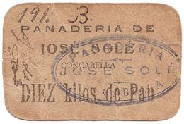 Ref. 256-414 - BIN SPAIN. Republican Local Issues. REWARD CARD. 10 Kos BREAD. BAKERY JOSE SOLE DE CONCABELLA-LLEIDA. VAL - [ 2] 1931-1936 : República