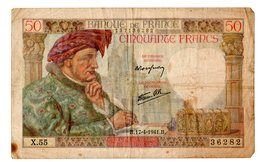 France - 50 Francs Jacques Coeur 17/04/1941  B * - 1871-1952 Antichi Franchi Circolanti Nel XX Secolo