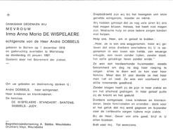 I.DE WISPELAERE °BELLEM-AALTER 1919 +TIELT 1997 (A.DOBBELS) - Devotion Images