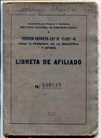 LIBRETA DE AFILIADO, INSTITUTO NACIONAL DE PREVENCION SOCIAL. AÑO 1947 ARGENTINA. CONTIENE SELLOS FISCALES -LILHU - Documentos Históricos