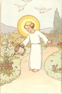 """""""Child Jesus Watering The Plants"""" Lovely Religious Italin Postcard 1950s - Christianisme"""
