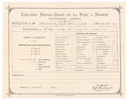 NAMUR - Collège Notre Dame De La Paix - Bulletin De Joseph SAINTRAINT 1895-96, Signé A.J. Maertens - Diploma & School Reports