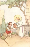 """""""Child Jesus Gives Water To Poor  Boy"""" Lovely Religious Italin Postcard 1950s - Christianisme"""