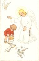 """Giardian Amgel With Boy Feeding The Doves"" Lovely Religious Italin Postcard 1950s - Christianisme"