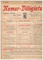 NAMUR Villégiature - Journal Organe Officiel Des Fêtes, Place De La Gare - 5 Au 12/09/1909 - Altri
