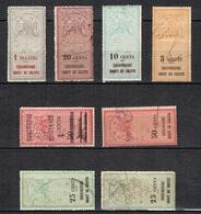Cochinchine Huit Timbres Fiscaux Anciens (un Neuf *, Sept Oblitérés). Rare! B/TB. A Saisir! - Cochinchine (1886-1887)
