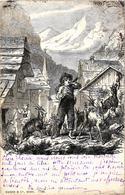 Très Beau Dessin D'un Chevrier Avec Szs Chèvres Et Sa Corne  Précurseur 1904 - Paysans