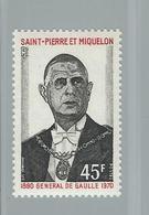 Timbre De Gaulle N° 420 - Valeur 36 € - St.Pierre Et Miquelon