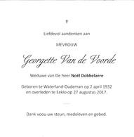 G.VAN DE VOORDE °WATERLAND-OUDEMAN 1932 +EEKLO 2017 (N.DOBBELAERE) - Devotion Images