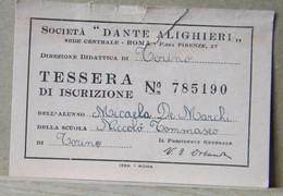 MONDOSORPRESA, TESSERA SOCIETA' DANTE ALIGHIERI 1950/1951 - Organizations