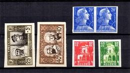 Algérie Maury N° 286/287, N° 345/346 Et N° 357 Non Dentelés Neufs ** MNH. TB. A Saisir! - Unused Stamps