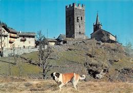 Cartolina Champorcher Torre Dei Signori Di Bard Chiesa S.Nicola Cane S. Bernardo - Non Classificati