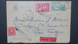 Lettre De Paris 1935 AFFR. N° 301 Et 305 Pour San Francisco US Avec Griffe Et Taxe De 2 Cents 1935 - Postmark Collection (Covers)