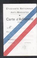 Etidiants Nationaux Anti-Marxistes, Carte D'adhérant - Kaarten