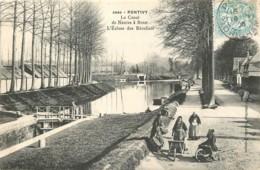 56 - PONTIVY - Le Canal De Nantes à Brest - L'ecluse Des Recollets En 1906 (belle Carte Animée Avec Lavandières) - Pontivy
