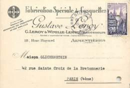 59 - ARMENTIERES - Carte Publicitaire Fabrication De Casquettes Gustave Leroy 18 Rue Bayard En 1955 - Armentieres