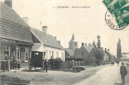 59 - STEENE - Place Et Eglise En 1908 - Boulanger Et Sa Carriole - France