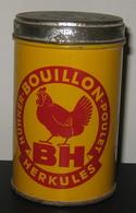 Boîte Ancienne En Métal - BOUILLON HERKULES - Poulet / Hühner - Suisse / 5 Scans - Boîtes