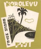 """D9298 """" HOTEL BEACH - FIGI - KOROLEVU """" ETICHETTA ORIGINALE, 1960 - Adesivi Di Alberghi"""
