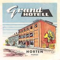 "D9299 ""GRAND HOTEL - HORTEN - NORGE "" ETICHETTA ORIGINALE, 1960 - Adesivi Di Alberghi"