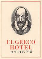 """D9300 """" HOTEL - EL GRECO - ATHENES """" ETICHETTA ORIGINALE, 1960 - Adesivi Di Alberghi"""