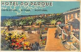 """D9302 """" HOTEL DO PARQUE - COSTA DO SOL - PORTUGAL - ESTORIL """" ETICHETTA ORIGINALE, 1950 - Adesivi Di Alberghi"""