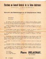 Petite Affiches Pour L'élections Au Conseil Général De La Seine-inférieure Canton D'Envermeu 1952 - - Affiches