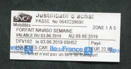 """Ticket De Métro RATP """"Justificatif D'achat Carte Navigo / Ile-de-France Mobilités"""" SNCF - Paris - Ile-de-France - Titres De Transport"""