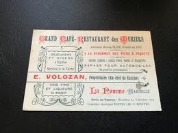 Carte De Visite Grand Café Restaurant Des Muriers  - MARSEILLE - Visiting Cards