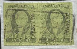 J) 1861 MEXICO, HIDALGO, UN REAL, PAIR, FRAGMENT OF LETTER, OAXACA DISTRICT, BLACK BOX CANCELLATION, MN - Mexico