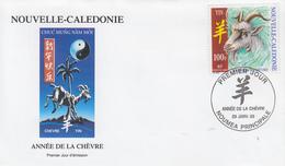 Enveloppe  FDC  1er  Jour   NOUVELLE  CALEDONIE   Nouvel  An   Chinois   La   CHEVRE   2003 - Chinees Nieuwjaar